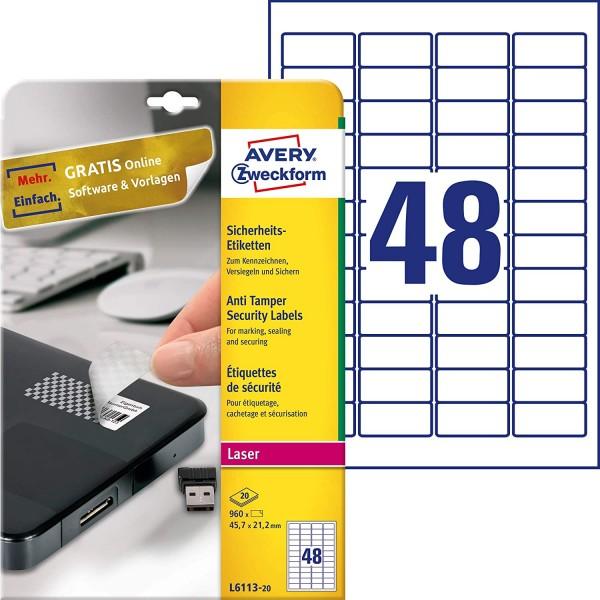 AVERY Zweckform L6113-20 Sicherheitsetiketten (45,7x21,2 mm auf DIN A4, stark selbstklebend, mit Sch