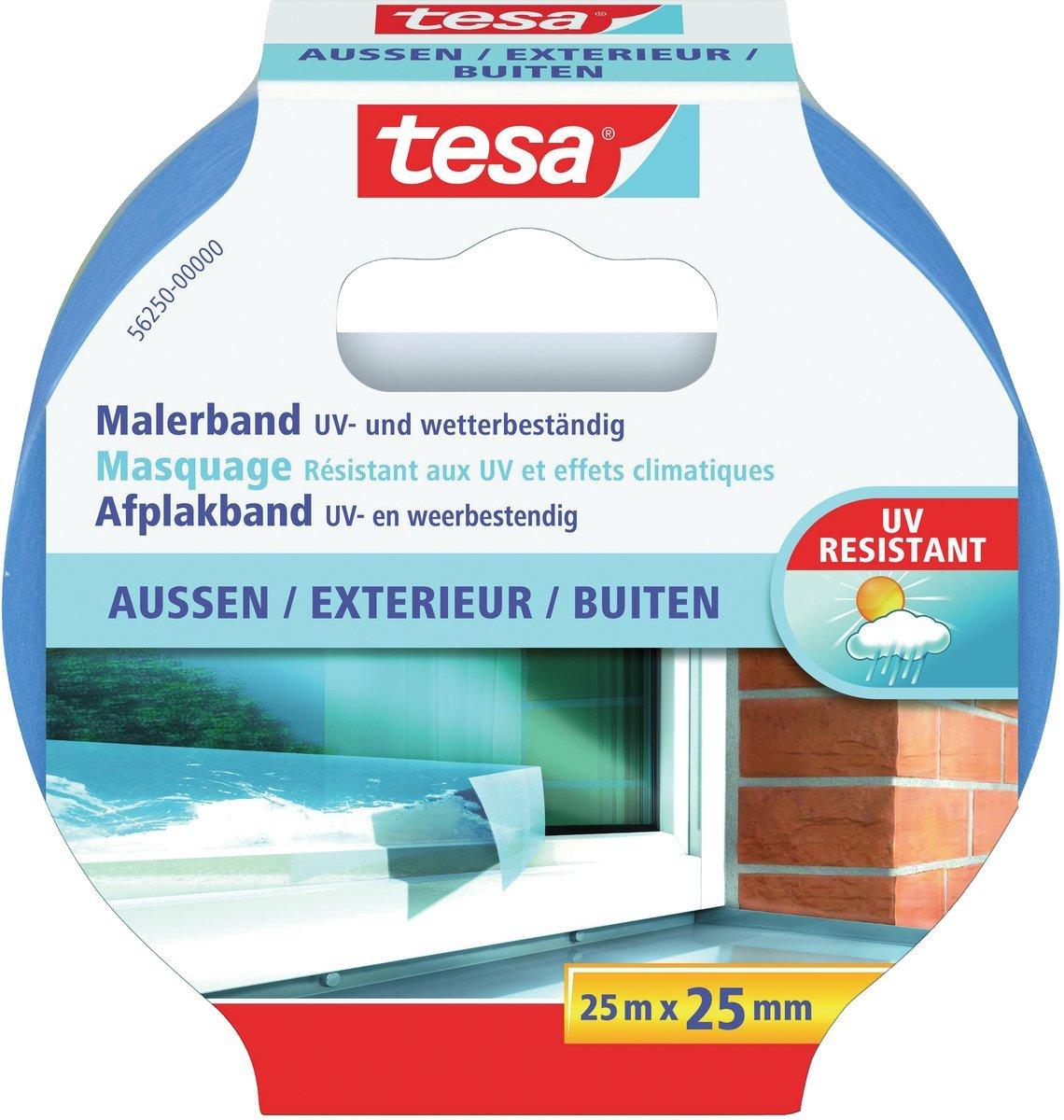 GP:0,16€/M tesa Malerband AUSSEN – Dünnes Abdeckband für extrem präzises Abkleben bei Malerarbeiten
