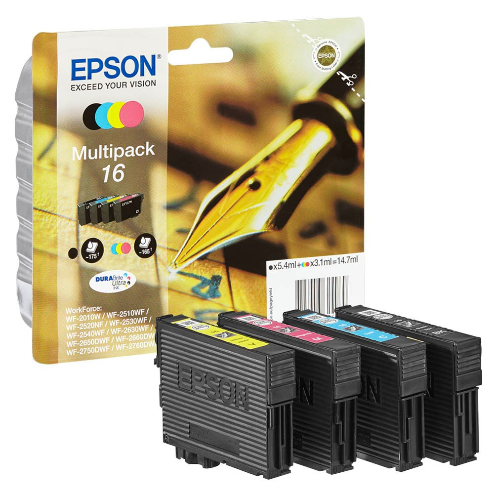 EPSON® Tintenpatrone, 16, C13T16264012, original, 4er sortiert, 5,4/3,1 ml (schwarzweiß/farbig), 175