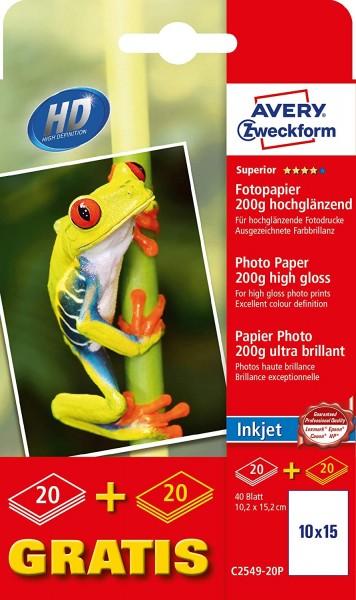 Avery Zweckform C2549-20P Superior Inkjet Fototpapier (10x15, einseitig beschichtet, 200 g/m²) 40 Bl