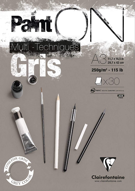 Clairefontaine 975810C PaintOn Block (250 g, DIN A3, 29,7 x 42 cm, geleimt, 30 Blätter, ideal für we