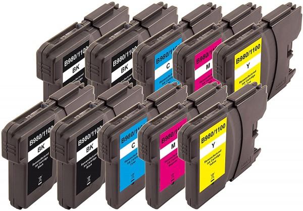 Peach 10er-Pack Tintenpatronen, XL-Füllung, kompatibel zu Brother LC-1100, LC-980