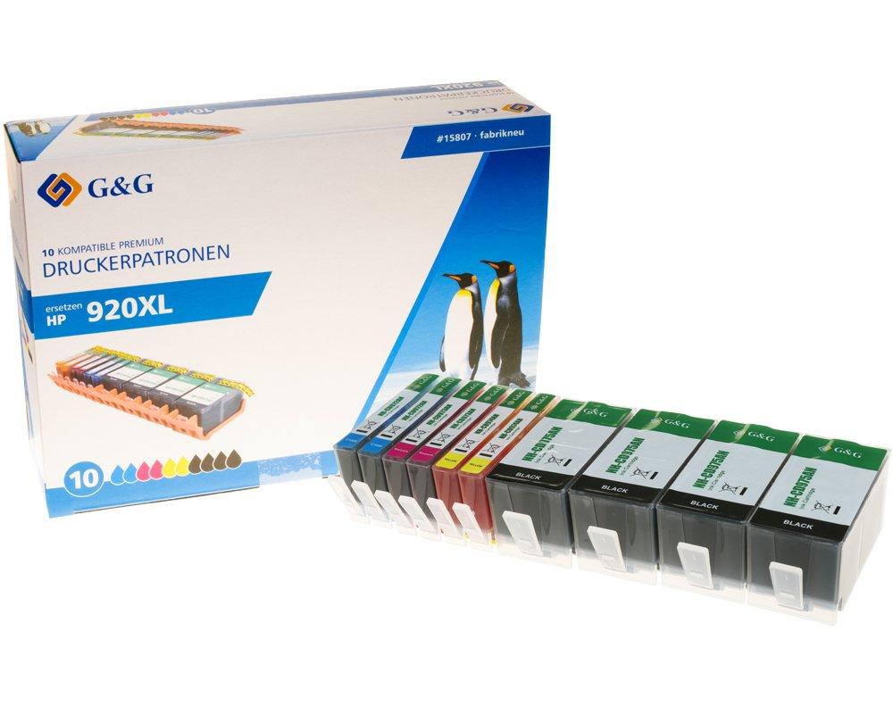 G&G Tinte ersetzt HP 920XL Kompatibel 10er-Pack Schwarz, Cyan, Magenta, Yellow