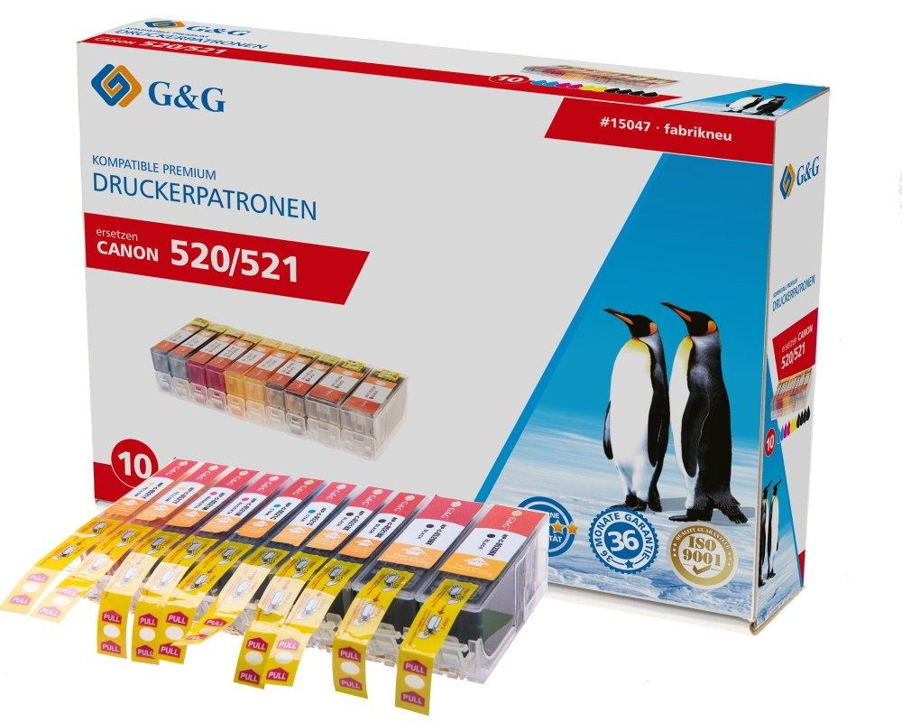G&G Tinte ersetzt Canon PGI-520, CLI-521 Kompatibel 10er-Pack Schwarz, Photo Schwarz, Cyan, Magenta,