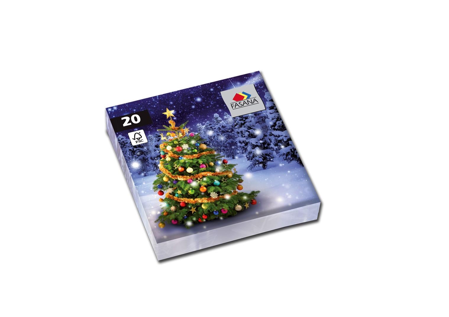 Fasana Servietten 33 x 33 cm 1/4 Falzung 100 Stück Weihnachtsbaum