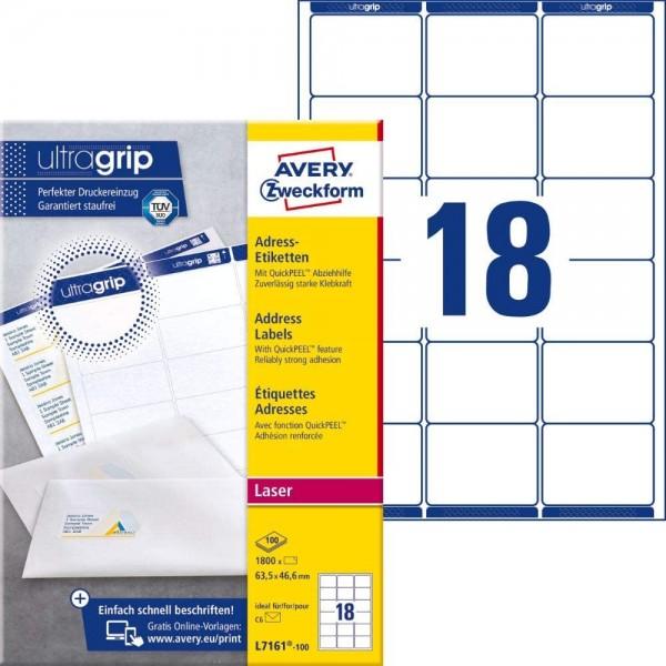 AVERY Zweckform L7161-100 Adressetiketten/Adressaufkleber (1.800 Etiketten mit ultragrip, 63,5x46,6m