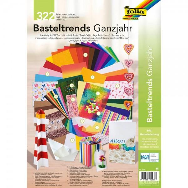 folia 946 - Basteltrends Ganzjahr, 322 Teile - Kreativset für Kinder und Erwachsene mit verschiedene