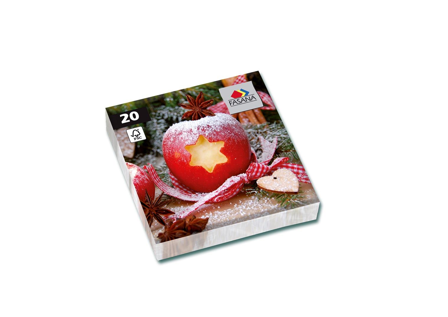 Fasana Servietten 33 x 33 cm 1/4 Falzung 20 Stück Apfel