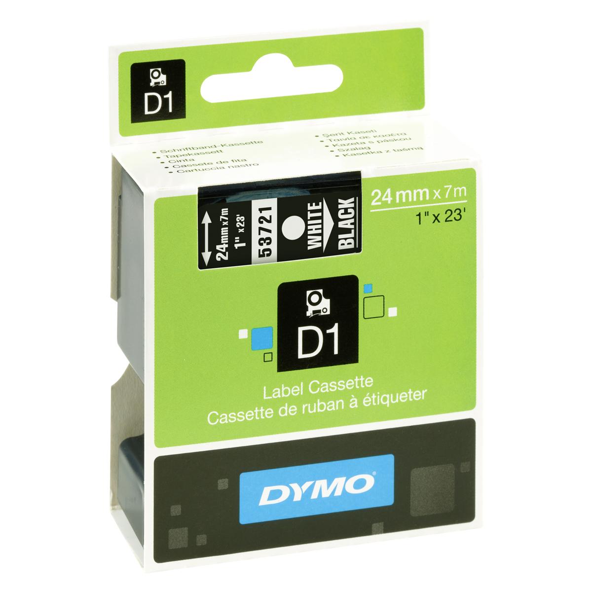 Dymo D1-Schriftband 24mm x 7m weiß auf schwarz