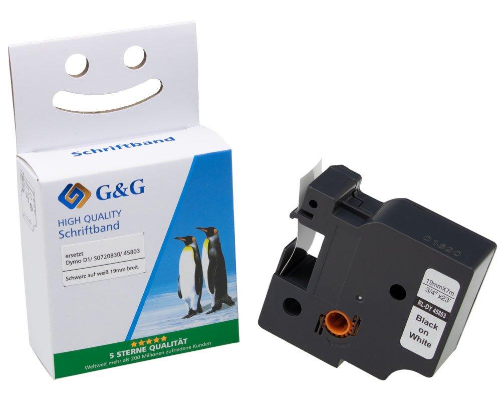 G&G Schriftband kompatibel zu Dymo D1/ 45803/ S0720830 (19mm x 7m) schwarz auf weiß