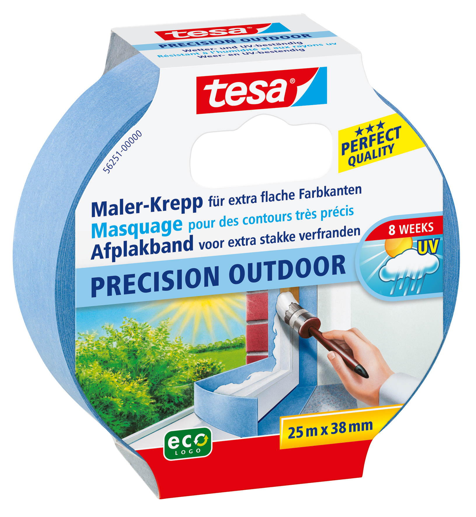 GP: 0,20 EUR/m 4 x tesa Maler-Krepp Precision Outdoor 25 m x 38 mm