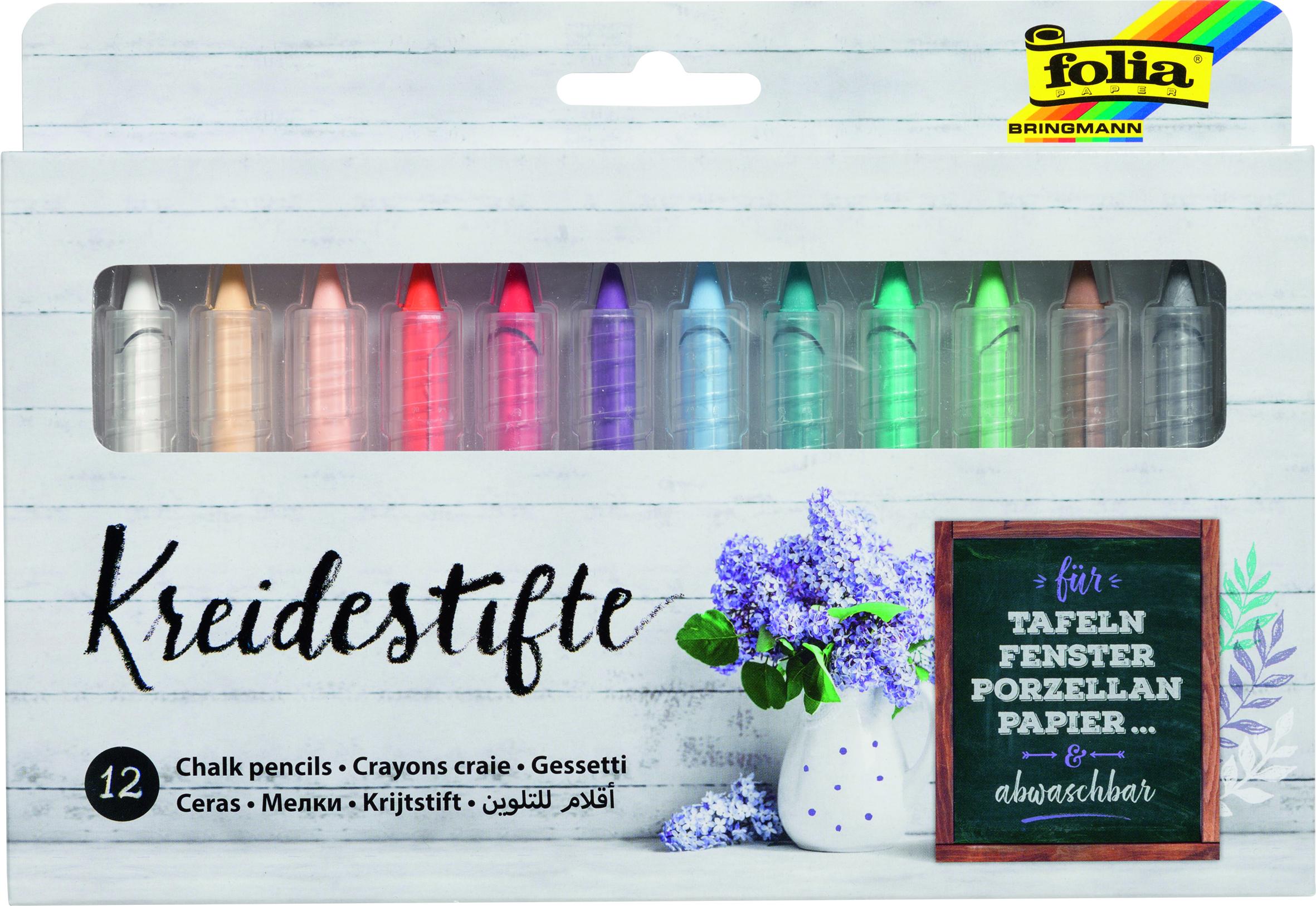 Vorschau: Folia Kreidestifte 12 Farben sortiert