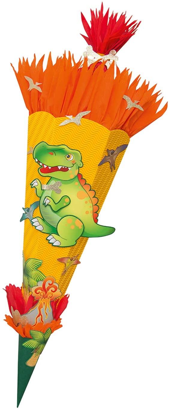 folia 92208 - Schultüten Bastelset Dino, inklusive Schultütenrohling aus 3D Wellpappe ca. 68 cm, Mot