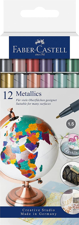 Faber-Castell 160713 - Metallics Marker mit Faserspitze, 1,5 mm Strichstärke, für viele Oberflächen