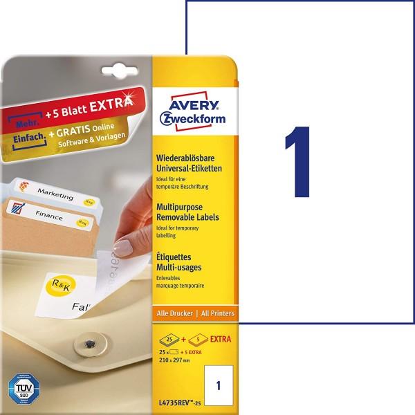AVERY Zweckform L4735REV-25 Universal Etiketten (25 plus 5 Klebeetiketten extra, 210x297mm auf A4, w