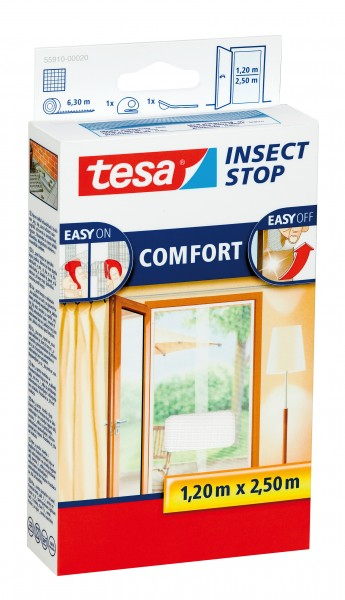 tesa Fliegengitter Comfort Klettband Tür XL 2 x 0,65 m : 2,5 m, weiß