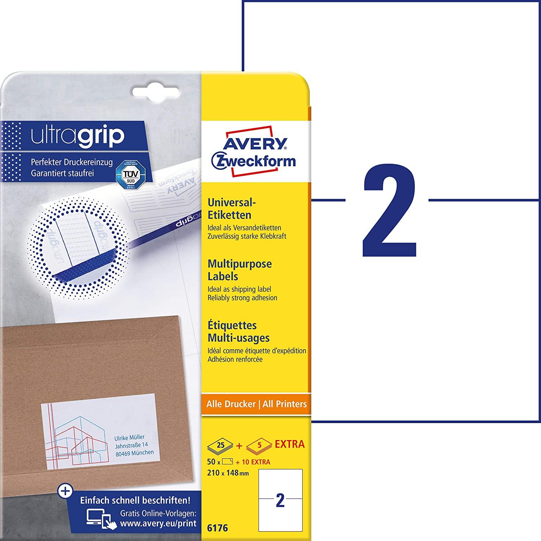 AVERY Zweckform 6176 Universal Etiketten (50 plus 10 Klebeetiketten extra, 210x148mm auf A4, bedruck