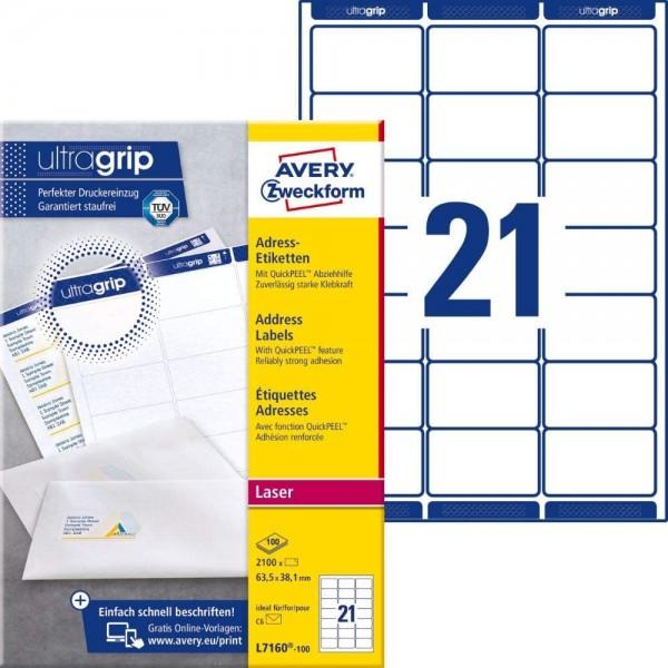AVERY Zweckform L7160-100 Adressetiketten/Adressaufkleber (2.100 Etiketten mit ultragrip, 63,5x38,1m