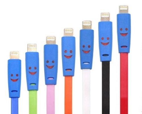 Leuchtendes Ladekabel mit Smilie für Iphone 5 5S 6 Ipad Mini USB Kabel ver. Farb