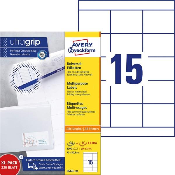 AVERY Zweckform 3669-200 Adressaufkleber (3.000 plus 300 Klebeetiketten extra, 70x50,8mm auf A4, bed