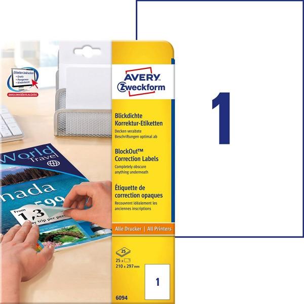 AVERY Zweckform 6094 Abdeck-Etiketten (blickdichte, selbstklebend, A4 Format, 210 x 297, für alle Dr