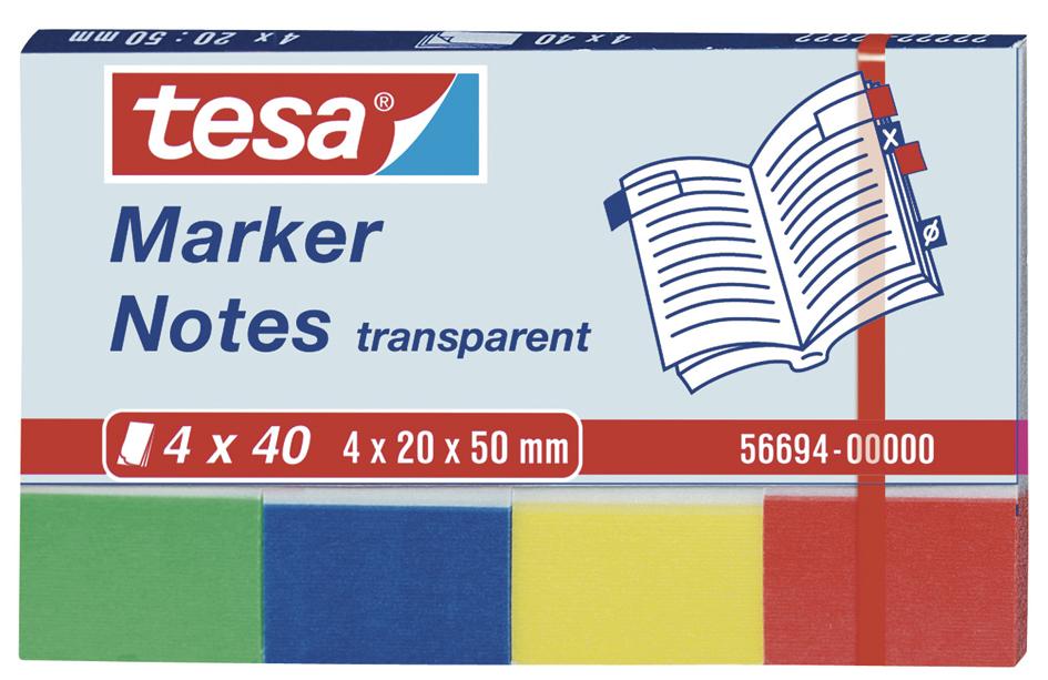 Vorschau: tesa Marker Notes, 4 x 40 Blatt, transparent 20mm x 50mm