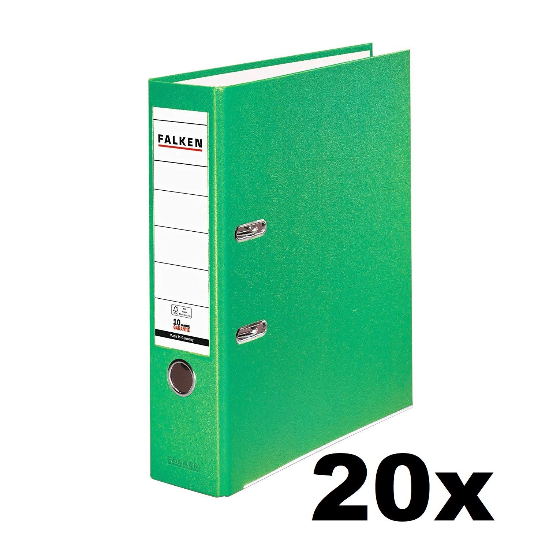 20x Falken Ordner 8cm PP-Color Kunststoff-Ordner breit DIN A4 HELLGRÜN 11286739 Ringordner Aktenordn