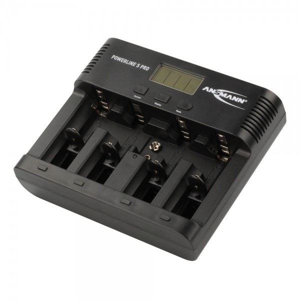 ANSMANN Akku-Ladegerät für 4x AA/AAA/C/D + 1x 9V-Block Akkus - NiMH Batterieladegerät mit 4 Ladeprog
