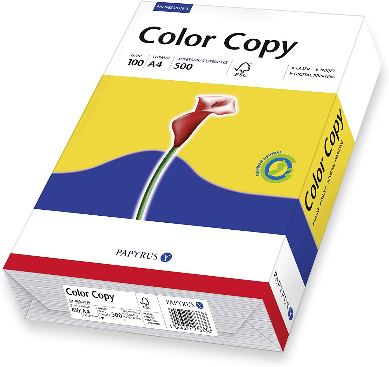 Papyrus 88007859 Drucker-/ Farblaserpapier ColorCopy: 100 g/m², A4 500 Blatt satiniert, Weiß, Hochgl