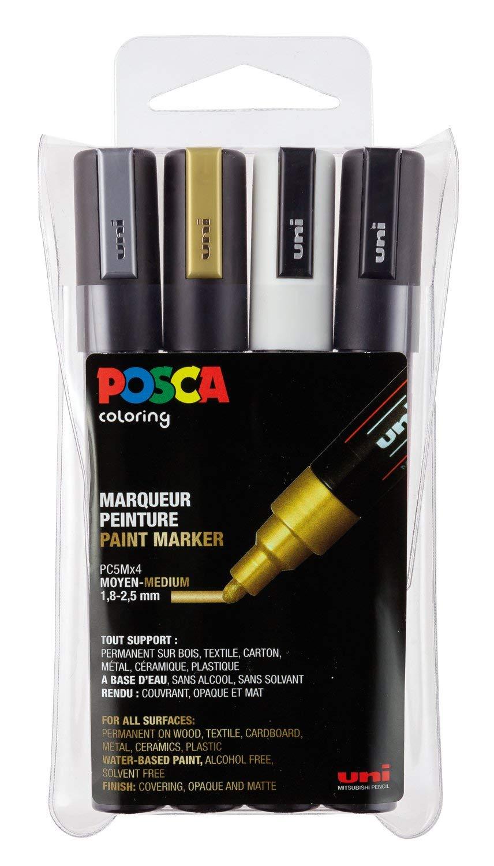 uni-ball POSCA (182504) PC5M Marker mit feiner Rundspitze, 4er Set
