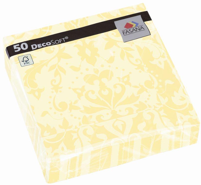 Fasana Servietten 40 x 40 cm 1/4 Falzung 50 Stück buttercream mit Muster