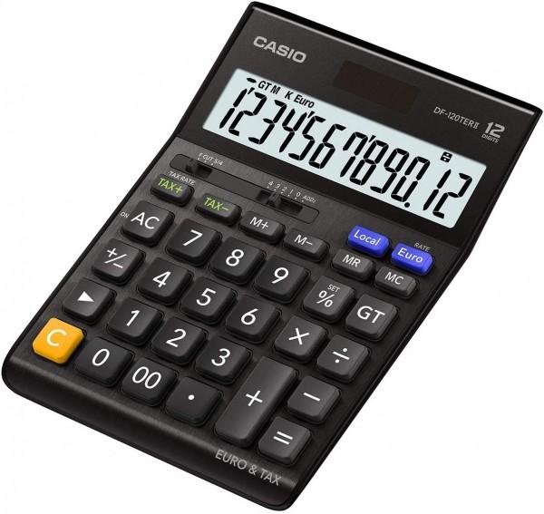 Casio DF-120TERII-BK Euro Tischrechner, 12-stellig, EXTRA BIG LC-Display, schwarz