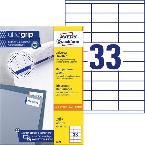 AVERY Zweckform 3421 Universal Etiketten (3.300 Klebeetiketten, 70x25,4mm auf A4, Papier matt, indiv