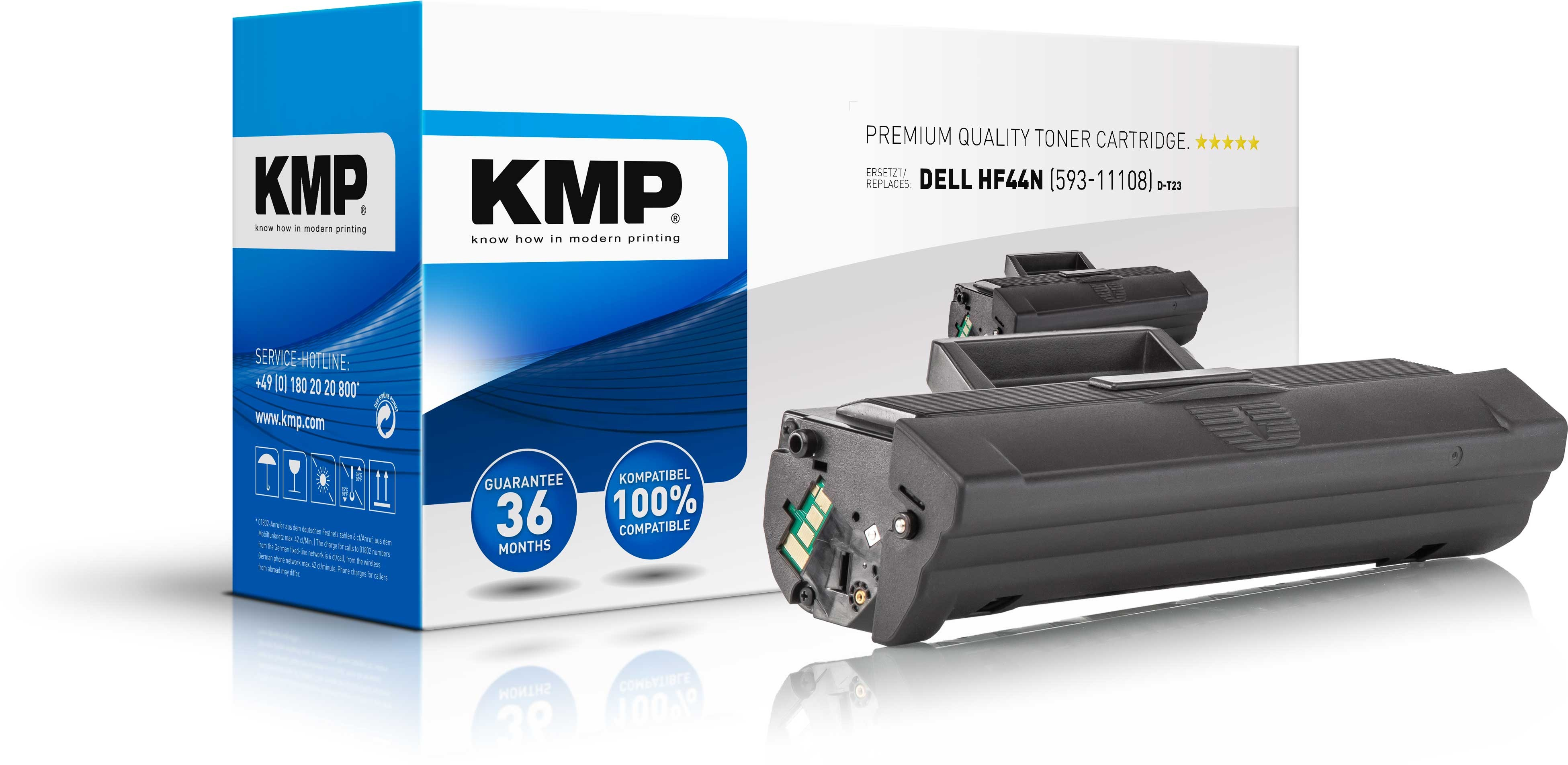 KMP Toner D-T23 ersetzt HF44N 593-11108 für Dell B1100 Series etc. black