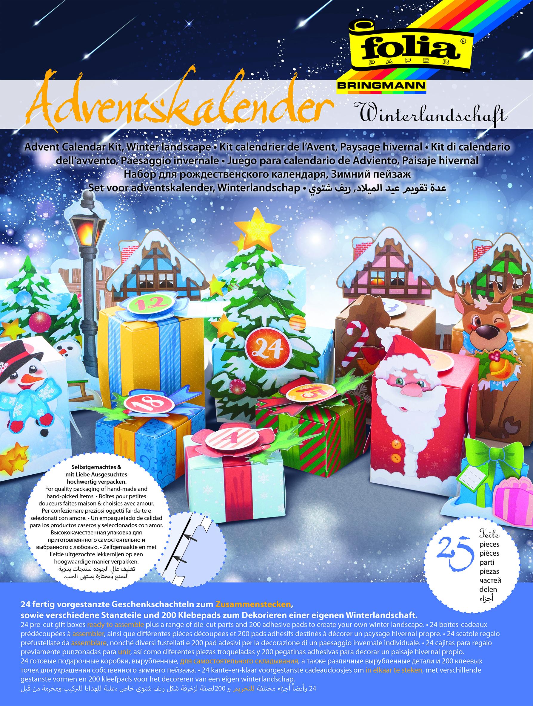 Folia Adventskalender-Bastelset Winterlandschaft - 25-teilig