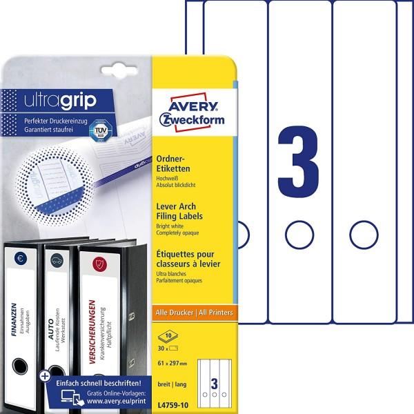 AVERY Zweckform L4759-10 Ordnerrücken Etiketten (mit ultragrip, 61 x 297 mm auf DIN A4, breit/lang,