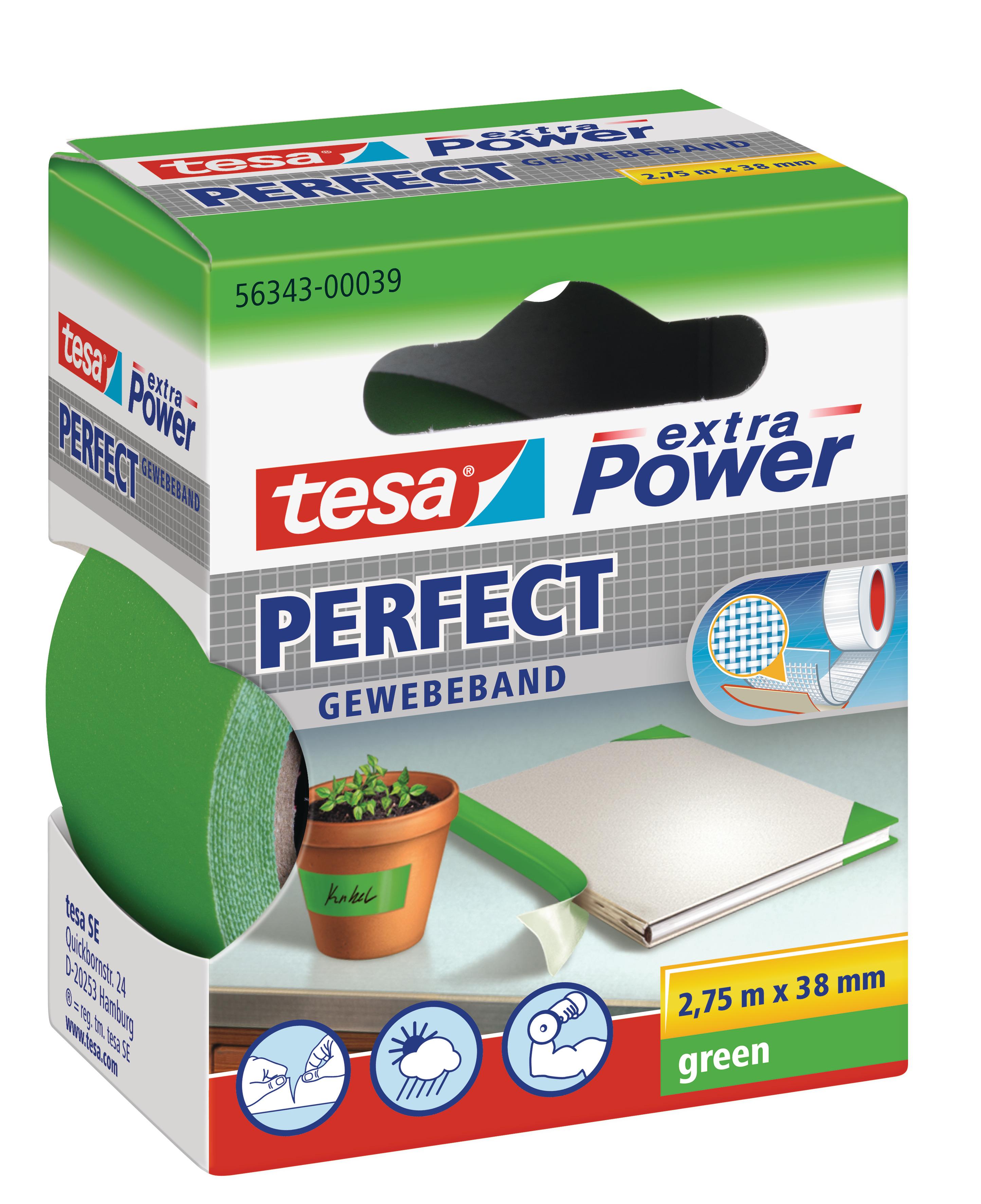 Vorschau: GP: 1,45 EUR/m tesa extra Power Perfect Gewebeband grün 2,75m x 38mm