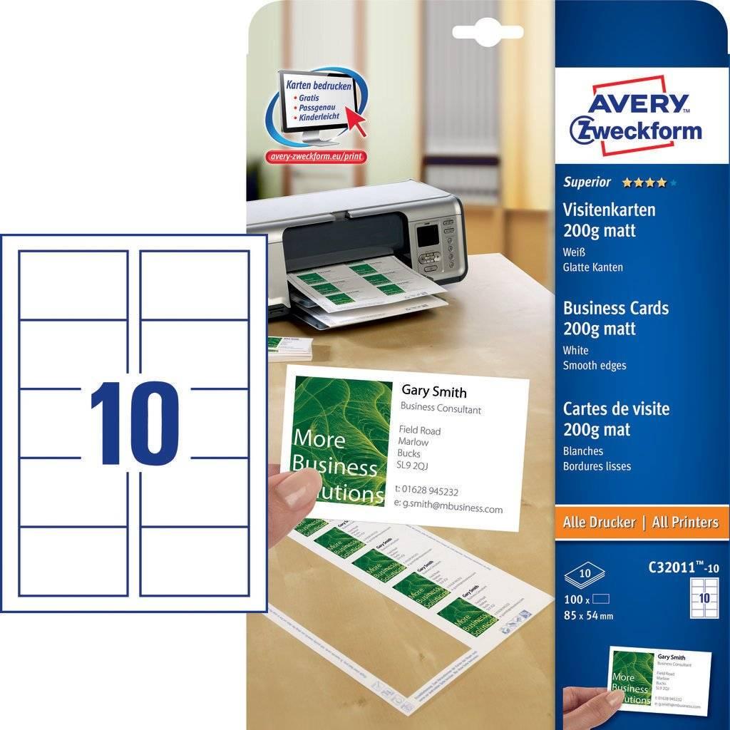 Avery Zweckform C32011-10 Superior Visitenkarten, 85 x 54 mm, einseitig beschichtet, 100 Karten / 10
