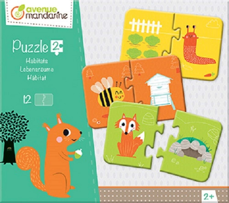 Avenue Mandarine JE511C Set mit 12 Puzzles 2-teilig, praktisch, spielerisch und farbenfroh, ideal fü
