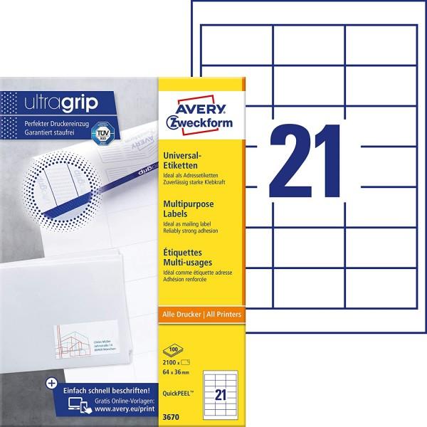 AVERY Zweckform 3670 Adressaufkleber (2.100 Klebeetiketten, 64x36mm auf A4, Papier matt, individuell