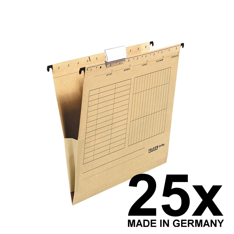 25x Falken Hängetasche 80004336 UniReg, braun 230g/m²-Kraftkarton, mit Leinenfröschen