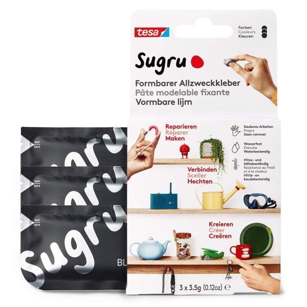 Sugru by tesa® - Formbarer Allzweckkleber, starker Allzweck-Klebstoff, 3er-Pack (3 x 3,5 g) in Schwa