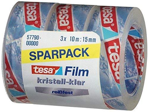 tesa Film-Set, kristall-klar, SPAR-PACK!, 15 mm x 10 m, Sie erhalten 30 Rollen im 3er Pack