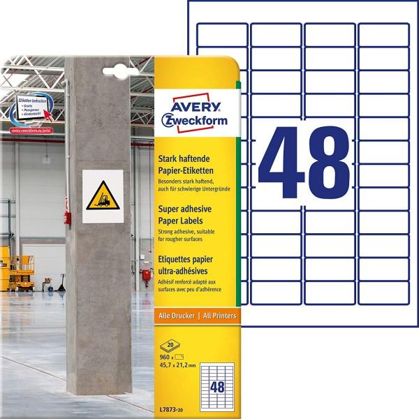 AVERY Zweckform L7873-20 Stark haftende Papieretiketten (45,7x21,2 mm auf DIN A4, extrem stark selbs