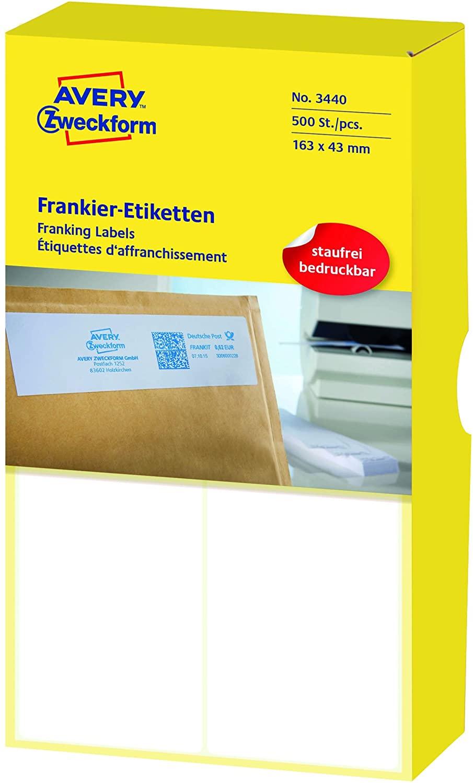 AVERY Zweckform 3440 Frankier-Etiketten (Papier matt, 500 Etiketten, 163 x 43 mm) 1 Pack weiß