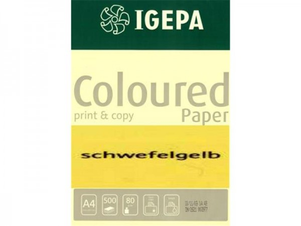 Igepa Coloured Paper Intensiv schwefelgelb 80g/m² DIN-A4 - 500 Blatt