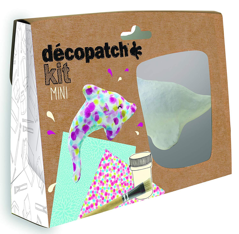 Décopatch Bastel Set Pappmaché Mini Delphin (ideal für Kinder, 19 x 13,5 x 3,5 cm) türkis, bunt