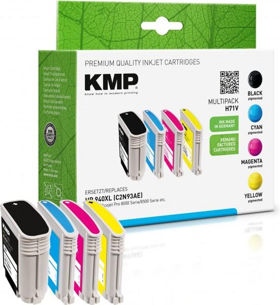 KMP Multipack H71V schwarz, cyan, magenta, gelb Tintenpatronen ersetzen HP Officejet Pro HP 940XL (C