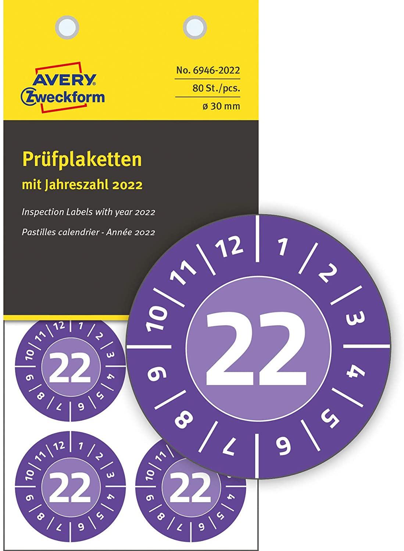 AVERY Zweckform 80 Stück Prüfplaketten 2022 (fälschungssicher, stark selbstklebend, Ø 30 mm, Prüfauf