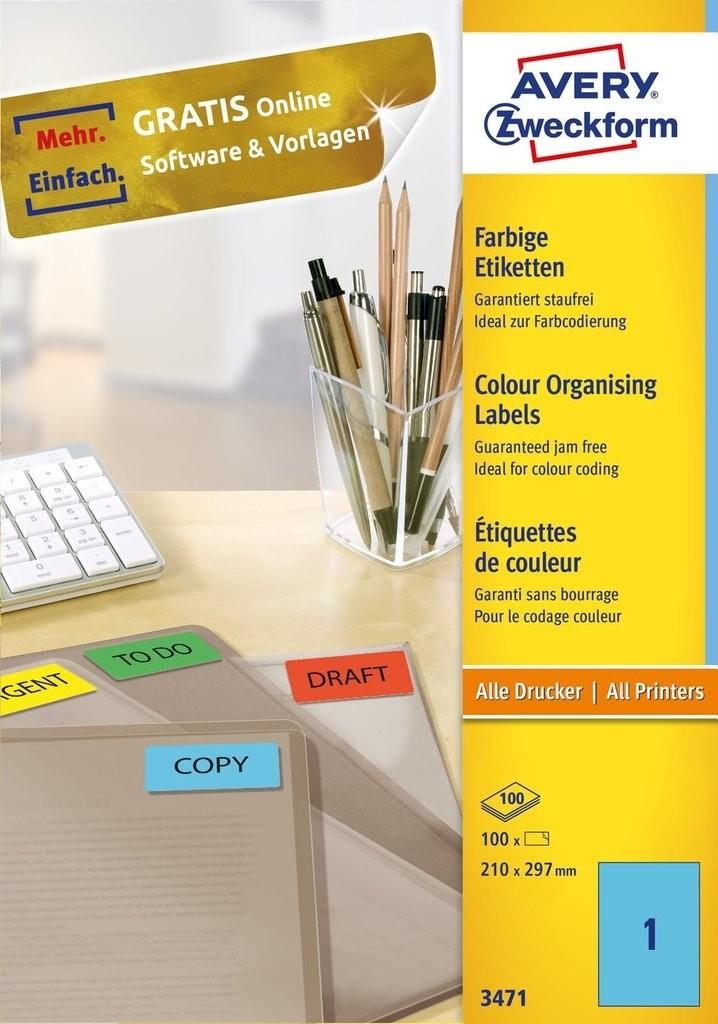 AVERY Zweckform Farbige Etiketten für alle Drucker 100 Blatt (210 x 297mm)